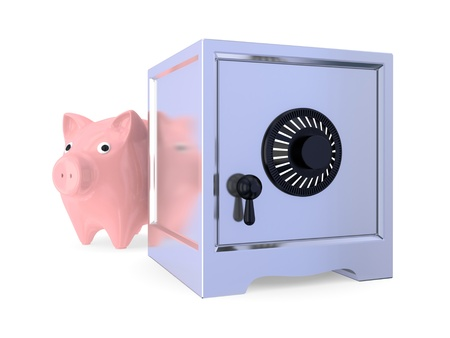 Pink piggy bamk and iron safe. 3d rendered. Isolated on white background. photo