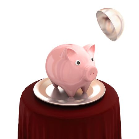 Pink piggy bank on a silver dish. Isolated on white. 3d rendered. photo