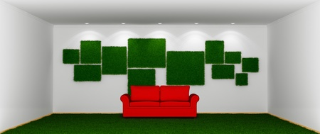 Spacious room with a green grassy lawn instead floor. 3d rendered. photo