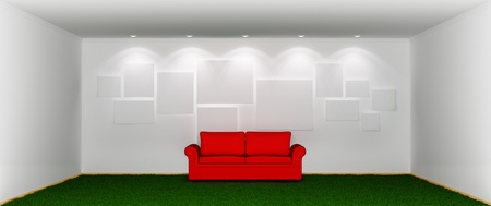 Spacious room with a green grassy lawn  instead floor, red sofa and empty pictures on wall.3d rendered. photo