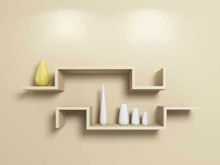 Modern shelves on beige wall with white and yellow vases. 3d rendered. photo