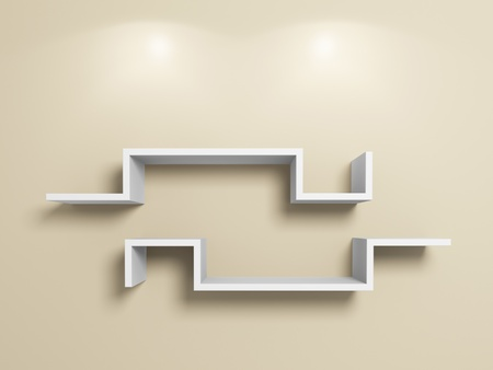 Empty modern white shelves on beige floor.3d rendered.. photo