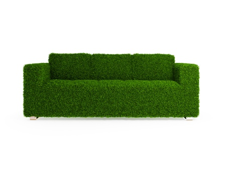 Modern sofa covered with bright green grass. Healthy lifestyle concept. 3d rendered. Isolated on white. Stock Photo