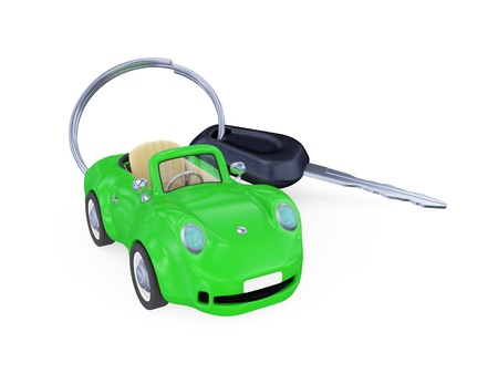 Keys to the car with trinket. Isolated on white background. 3d rendered photo