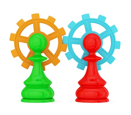 Two pawns merged with  gears. Teamwork concept. Isolated on white. photo