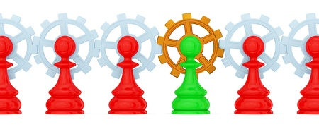 Red and green pawns merged with gears. Golden one is the main. Teamwork concept. Isolated on white. photo