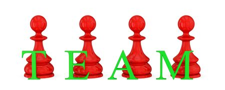 Red pawns and green word TEAM. Isolated on white. 3d rendered. photo