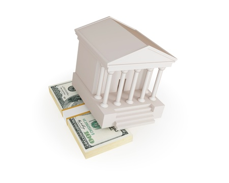 corrupt practice: White Court House and big money stack. Bride concept. Isolated on white.3d rendered. Stock Photo