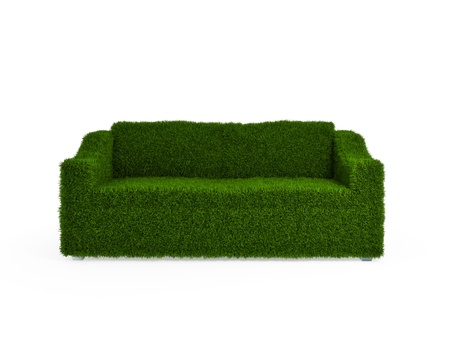 Modern sofa covered with bright green grass. Healthy lifestyle concept. 3d rendered. Isolated on white. photo