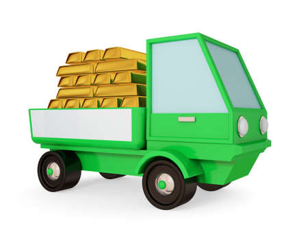 goldbars: Green truck with goldbars in a body. 3d rendered. Isolated on white. Stock Photo