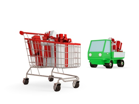Shopping trolley and green truck with bright gift boxes. 3d rendered. Isolated on white. photo