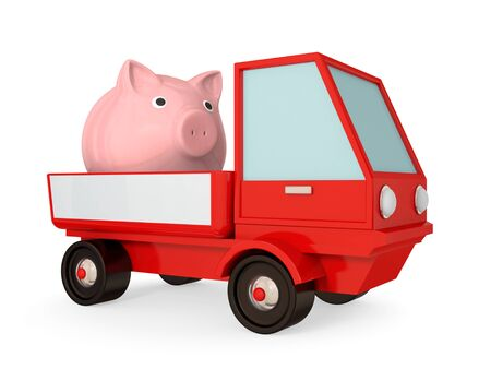 Red truck with pink piggy bank in a body. 3d rendered.Isolated on white. photo