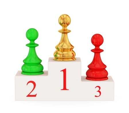 Three pawns on first, second and third places. Leadership concept. 3d rendered. Isolated on white background. Фото со стока