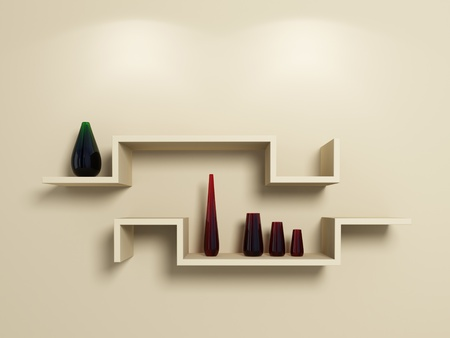 Modern shelves on beige wall with glassy red and green vases.3d rendered. photo
