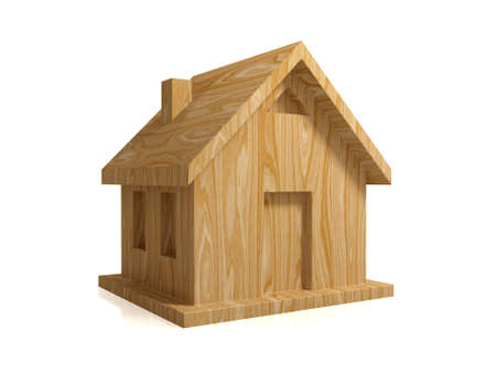Ecological wooden house. Isolated on white. 3d rendered. photo