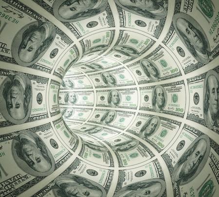 Zusammenfassung Tunnel des Geldes gemacht. 3D gerendert. Isoliert auf weißem Hintergrund.