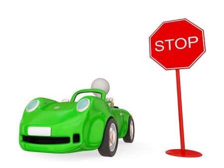 fast forward: Green car with small person inside and red STOP sign. Isolated on white background. 3d rendered.