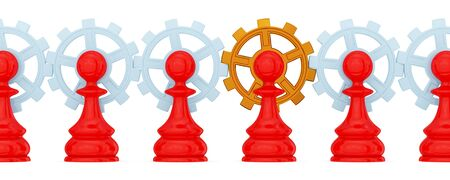 Red pawns merged with gears. Golden one is the main. Teamwork concept. Isolated on white.