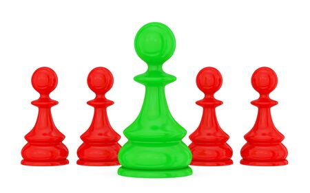 Four red pawns and a green one.  Teamwork concept. Isolated on white. photo