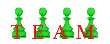 Four green pawns and red word TEAM. Teamwork concept. Isolated on white. 3d rendered. photo