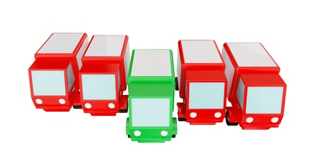Four red trucks and green one ahead. 3d rendered. Isolated on white. photo