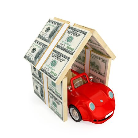Red car under the roof made of dollar packs. 3d rendered.  Insurance concept. Isolated on white background. photo