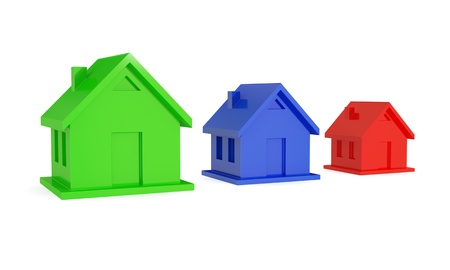 Green, blue and red different size houses. Real estate investment concept. 3d rendered. Isolated on white background. photo