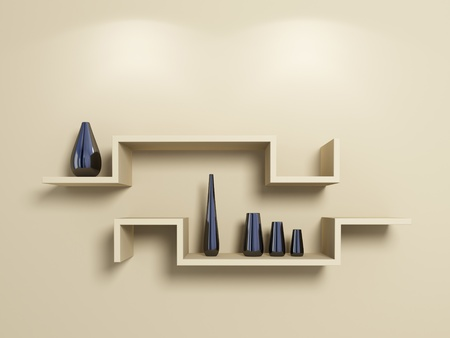 Modern shelves on beige wall with glassy vases. 3d rendered photo