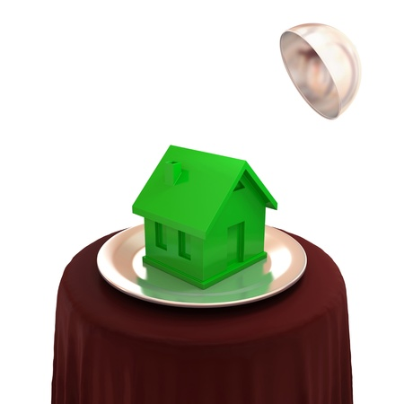 Green plastic house on a silver dish. 3d rendered. Isolated on white background. photo