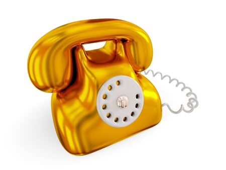 Golden retro telephone. 3d rendered. Isolated on white background. photo