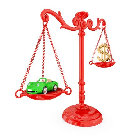 Green car and golden dollar sign on a red scales. 3d rendered. Isolated on white background. photo