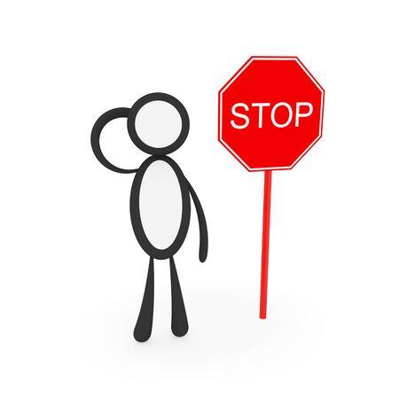 pensiveness: Pensare piccolo uomo vicino a segno STOP. Isolato su sfondo bianco. 3D rendering.