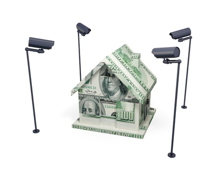 House made of money and observation cameras. 3d rendered. Isolated on white background. Stock Photo - 12171101