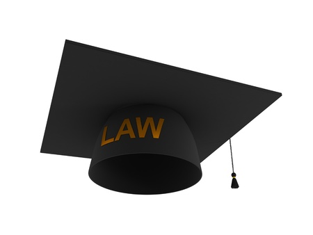 Balck lawyers hat with golden word LAW. 3d rendered. Isolated on white background.