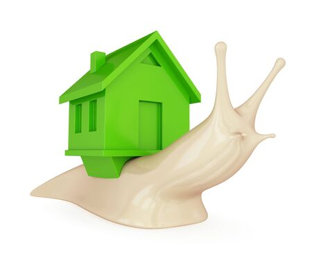 A snail with a green house on her back. Real estate concept. 3d rendered. Isolated on white background. photo