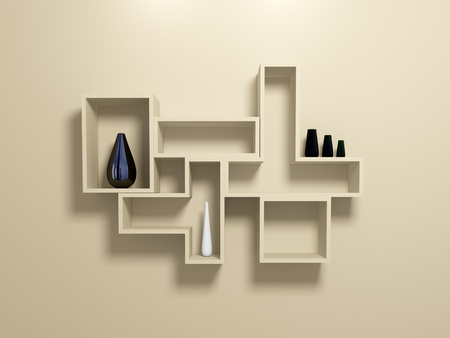 Modern shelves on beige wall with decorative vases. 3d rendered. photo