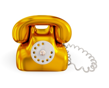 Golden rentro telephone. 3d rendered. Isolated on white background. photo