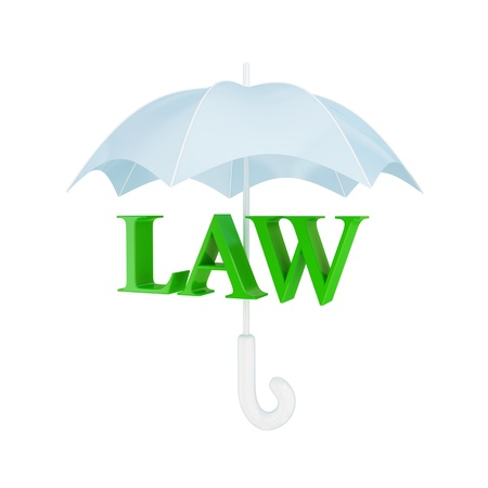 Word LAW under umbrella. 3d rendered. Isolated on white background. Stock Photo - 12171612