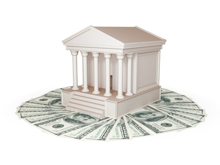 subornation: Court and lot of dollars. 3d rendered. Isolated on white.