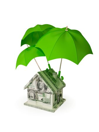 House made of money under three red umbrellas. 3d rendered. Isolated on white. photo