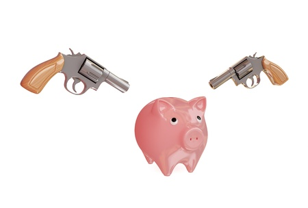 Piggy bank and two revolvers. 3d rendered. Isolated on white. photo
