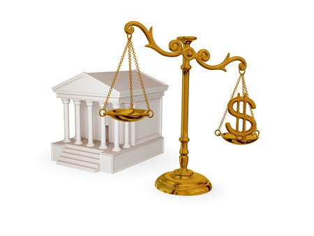 subornation: Court, vintage scales and dollar sign. 3d rendered. Isolated on white background. Stock Photo