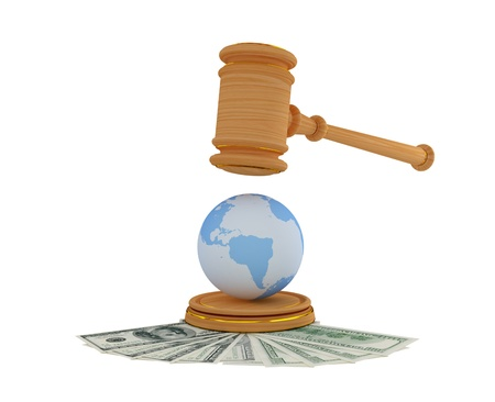 international law: Lawyers hammer, dollars and Earth model. 3d rendered. Isolated on white.