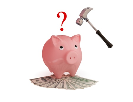 price hit: Pink piggy bank, hammer,money and question sign. 3d rendered. Isolated on white.