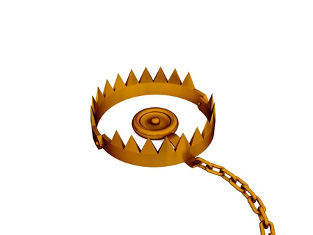 mantrap: Trap with a chain. 3d rendered. Isolated on white background. Stock Photo