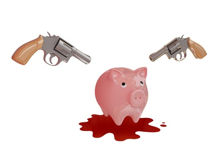 Piggy bank, two revolvers and blody stain. 3d rendered. Isolated on white background. photo