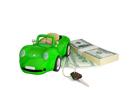 Green car, keys and dollar pack.  3d rendered. Isolated on white background. photo