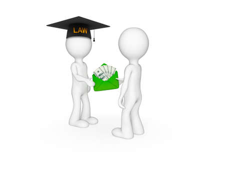 3d small people. Lawyer, client and money pack. Isolated on white background. photo