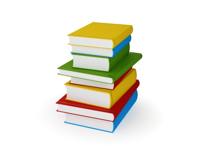 Stack of colorful books. 3d rendered. Isolated on white background. Stock Photo - 12171152
