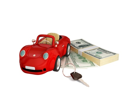 Red car, keys and dollar pack.  3d rendered. Isolated on white background. photo